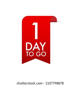 1 Day to go Red Label. Red Web Ribbon. Vector stock illustration.
