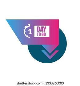 1 Day to go sign - emblem, label, badge,sticker, logo. Designed for your web site design, logo, app, UI