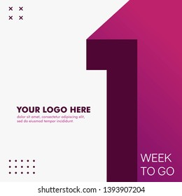 1 days to go modern and minimal background design for social media posting. Days to go countdown time vector design in purple color