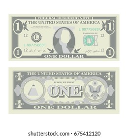 1 Dollar Banknote Vector. Cartoon US Currency. Two Sides Of One American Money Bill Isolated Illustration. Cash Symbol 1 Dollar