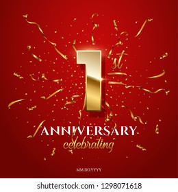 1 golden number and Anniversary Celebrating text with golden serpentine and confetti on red background. Vector first anniversary celebration event square template