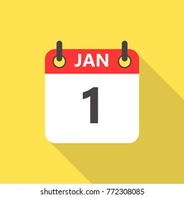 1 January calendar flat style icon with long shadow.