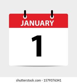 1 JANUARY calendar - vector icon 2020 icon