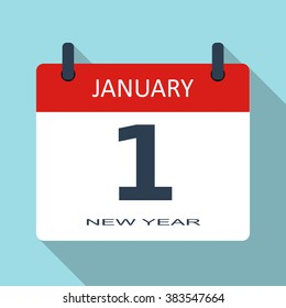 1 January. New year day. Vector flat daily calendar icon. Date and time, month. Holiday. Modern simple sign template for web site and mobile app illustration.