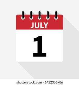 1 JULY - calendar vector icon, new design
