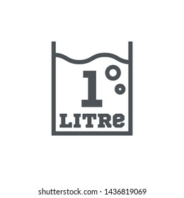 1 Liter l sign (l-mark) estimated volumes milliliters (ml) Vector symbol packaging, labels used for prepacked foods, drinks different liters and milliliters. 1 litre vol single icon isolated on white.