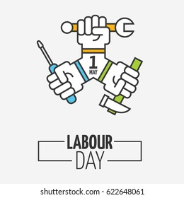 1 may celebration - labor day icon logo. modern outline flat workers day poster or banner with clenched fists and different instruments in it. Vector illustration of labour day