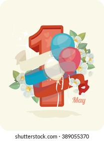1 May, celebration of Spring and Labour,  flowers, ribbon, balloons