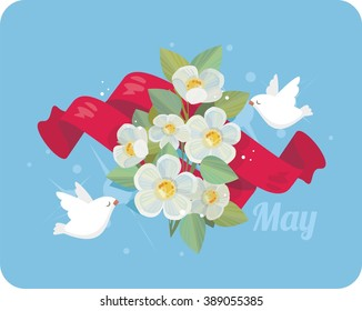 1 May, celebration of Spring and Labour, flowers, ribbon and doves