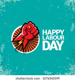 1 may Happy labour day vector label with strong red fist on torquise background . labor day background or banner with man hand. workers may day poster