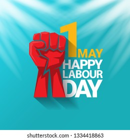 1 may - happy labour day. vector happy labour day poster or banner with clenched fist. workers day poster. labour day label or badge