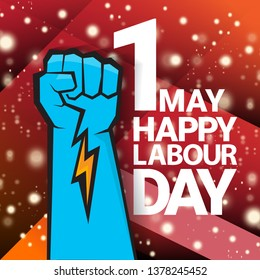 1 may - happy labour day. vector happy labour day poster or banner with blue clenched fist. workers day poster. labour day label or badge