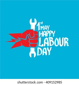 1 may - happy labour day. vector happy labour day poster or banner with clenched fist. workers day poster