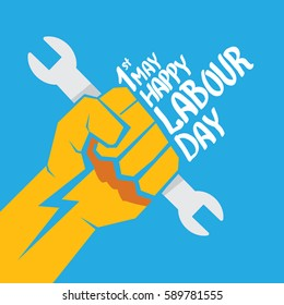 1 may - happy labour day. vector happy labour day poster or banner with clenched fist on blue background. workers day poster