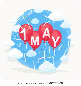 1 May, holiday of spring and work. Red balloons on a background of sky, clouds.