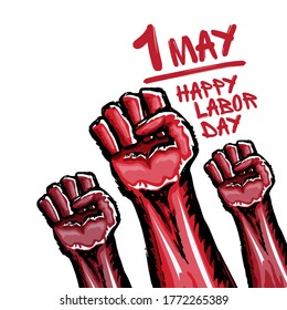 1 may Labor day poster with red protest fist isolated on white background. Mayday Labour day concept illustration with hand drawn rised fist in the air.  1 may graphic poster design template