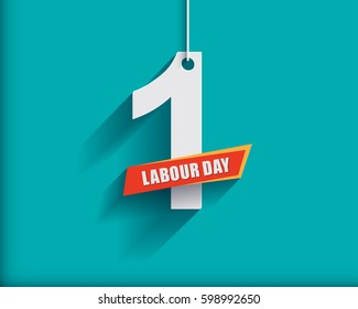 1 May Labour Day greeting card or background. Flat design. Contour line.