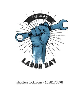 1 may - labour day. vector happy labour day poster or banner with clenched fist - Vector