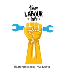 1 may - labour day. vector happy labour day poster or banner with clenched fist