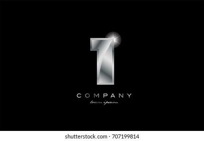 1 metal silver logo number on a black blackground