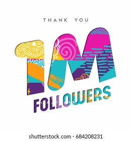1 million followers thank you paper cut number illustration. Special user goal celebration for 1000000 social media friends, fans or subscribers. EPS10 vector.
