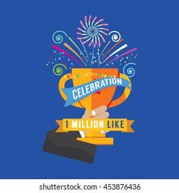 1 Million Likes Celebration Vector Illustration