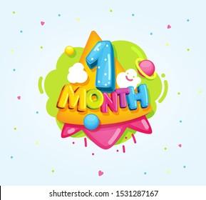 1 month baby color symbol. Cartoon kids vector illustration