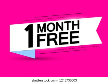 1 Month Free, sale banner design template, offer tag, white ribbon, vector illustration