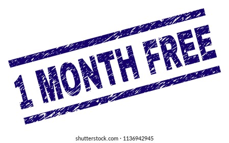 1 MONTH FREE stamp seal watermark with grunge style. Blue vector rubber print of 1 MONTH FREE text with grunge texture. Text label is placed between parallel lines.