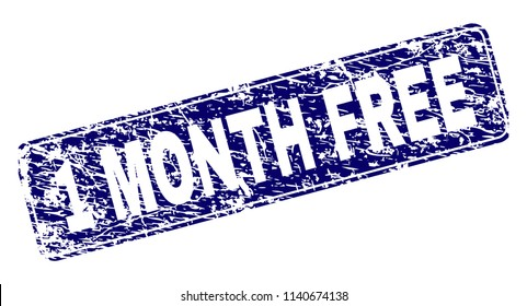 1 MONTH FREE stamp seal print with grunge texture. Seal shape is a rounded rectangle with frame. Blue vector rubber print of 1 MONTH FREE label with dust texture.
