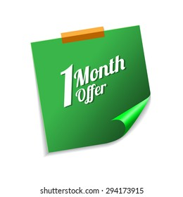 1 Month Offer Green Sticky Notes Vector Icon Design