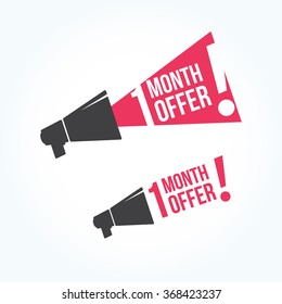 1 Month Offer Megaphone Icon