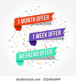 1 Month Offer, 1 Week Offer & Weekend Offer Tags