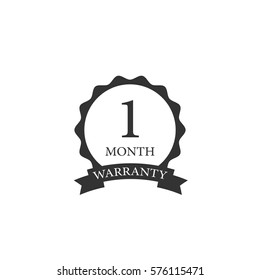 1 month warranty word on circle jagged edge and ribbon badge vector. Minimalist style, black and white color.