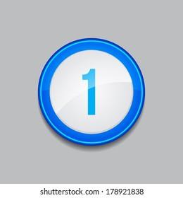 1 Number Circular Vector Blue Web Icon Button