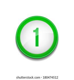 1 Number Sign Circular Green Vector Web Button Icon