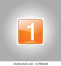 1 Number Square Vector Orange Web Icon Button
