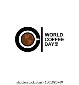 1 October International coffee day Logo. World Coffee day Logo Icon vector illustration on white background.World map in coffee cup.
