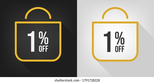 1% off. Black, white and yellow banner with one percent discount. Shopping bag concept vector.