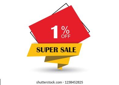 1% off discount promotion sale,  sale promo marketing.