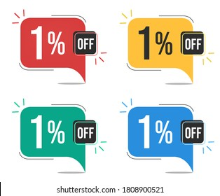 1% off. Red, yellow, green and blue tags with one percent discount. Banner with four colorful balloons with special offers vector.