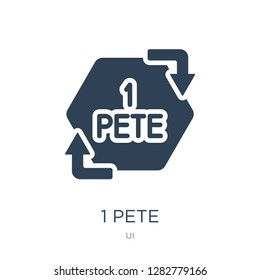 1 pete icon vector on white background, 1 pete trendy filled icons from UI collection, 1 pete vector illustration