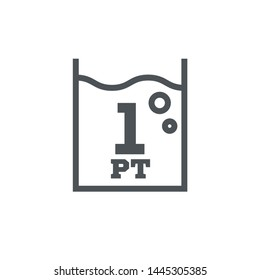 1 pint sign (pt mark) estimated volumes gallons (gal) Vector symbol gal packaging, labels used for prepacked foods drinks different gallons and pints. 1 pt vol single icon isolated on white background