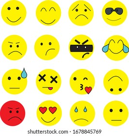 1 set, 16 icon pack emoticon, full color