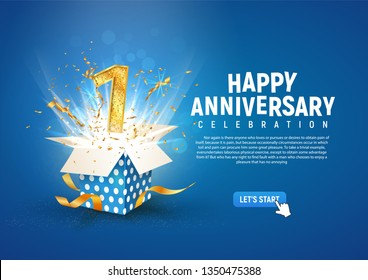 1 st year anniversary banner with open burst gift box. Template first birthday celebration and abstract text on blue background vector illustration