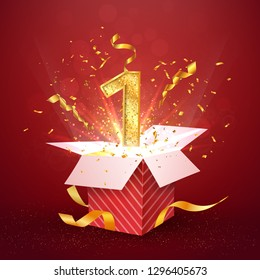 1 st year number anniversary and open gift box with explosions confetti. Template one first birthday celebration on red background vector Illustration.