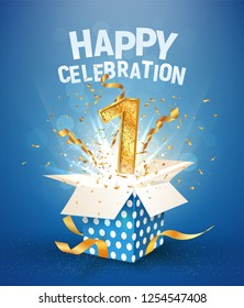 1 st years anniversary and open gift box with explosions confetti. Template first birthday celebration on blue background vector Illustration