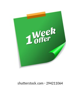 1 Week Offer Green Sticky Notes Vector Icon Design