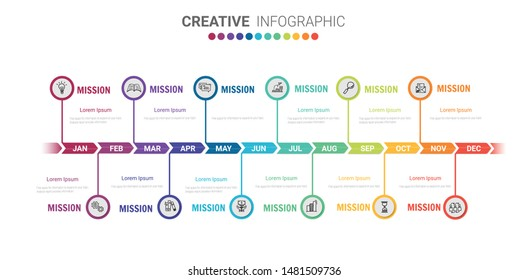 1 year, 12 months, infographics month planner design vector 12 steps and Presentation business can be used for Business concept with 12 options, steps or processes.