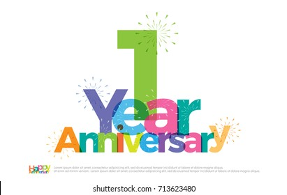 1 year anniversary celebration colorful logo with fireworks on white background. 1st. anniversary logotype template design for banner, poster, card vector illustrator